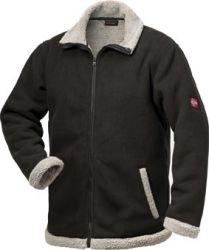 Berber-Fleece-Jacke NORDLAND, atmungsaktiv, schwarz/grau, NUR NOCH 1X Gr.L LIEFERBAR