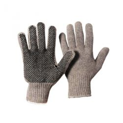 Baumwoll-Strickhandschuh Damengröße Grau Benoppung