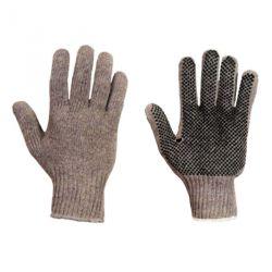 Baumwoll-Strickhandschuh Herrengröße Grau beidseitiger Benoppung Herrengröße