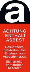 Asbest-Aufkleber 55x25mm ACHTUNG