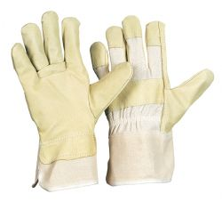 418 CBWA / Rindspaltlederhandschuh / Farbe: gelb / gefüttert / Doppelnaht / Größe 11