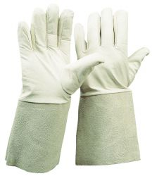Nappaleder-Handschuh / Länge 35 cm / mit Spaltlederstulpe / CE CAT 2