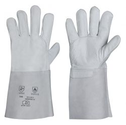 Nappaleder-Handschuh / Länge 35 cm / Spaltlederstulpe / CE CAT 2