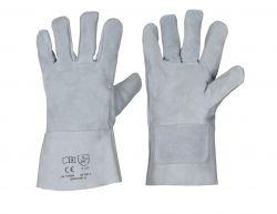 5-Finger Spaltlederhandschuh / natur / Länge 30 cm / CE CAT 2 / Moltonfutter