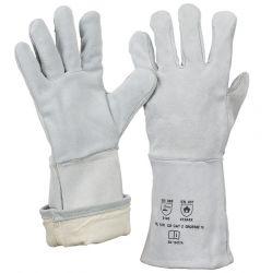 5-Finger-Spaltlederhandschuh / natur / komplett gefüttert / Länge 35 cm / CE CAT 2 / EN 12477 A+B