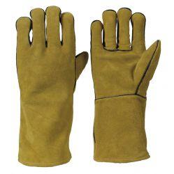 TOP-Rindkernspaltleder-Handschuh / 35 cm / komplett gefüttert / EN 12477 - Typ B