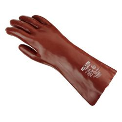 Chemikalienschutz-Handschuh / PVC rotbraun / 35cm Länge