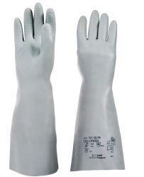 Handschuhe Tricopren 725, Chloropren, Stulpe, vollb., Profil, 39-41cm - grau