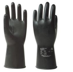 Handschuhe Vitoject 890, Fluorkautschuk, Rollrand, glatt, 34-36cm - schwarz