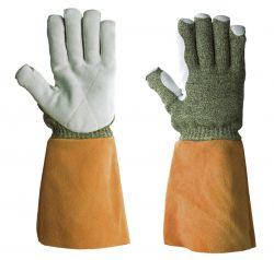 Handschuhe KarboTECT LL 946, schwerer Strick Para-A/ Karbon/Wolle, Lederstulpe, 38-40cm - gelb/rotbraun